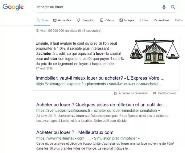 Un exemple de featured snippet