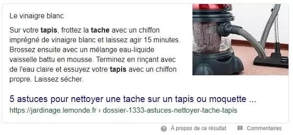 Featured snippet sur les taches et tapis