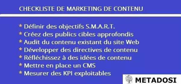 Une checkliste pour une stratégie de marketing de contenu