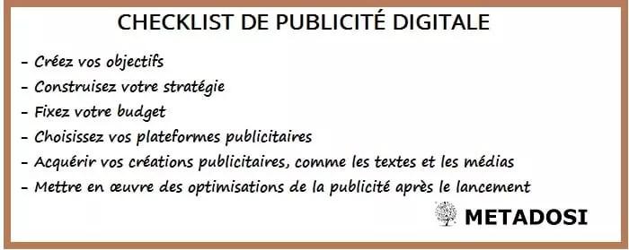 Liste de contrôle pour le lancement d'une campagne de publicité digitale