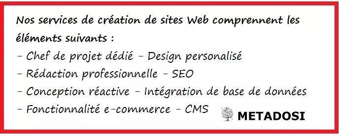 Liste des caractéristiques des services de notre agence de création de sites web professionnels