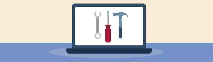 les outils matériels sur un écran d'ordinateur