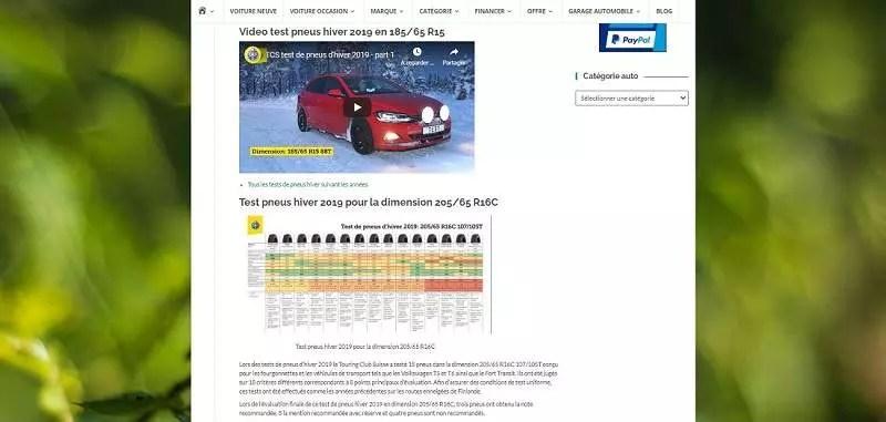Un exemple de page web sur un produit technologique, comprenant une vidéo, des lignes de texte et un graphique