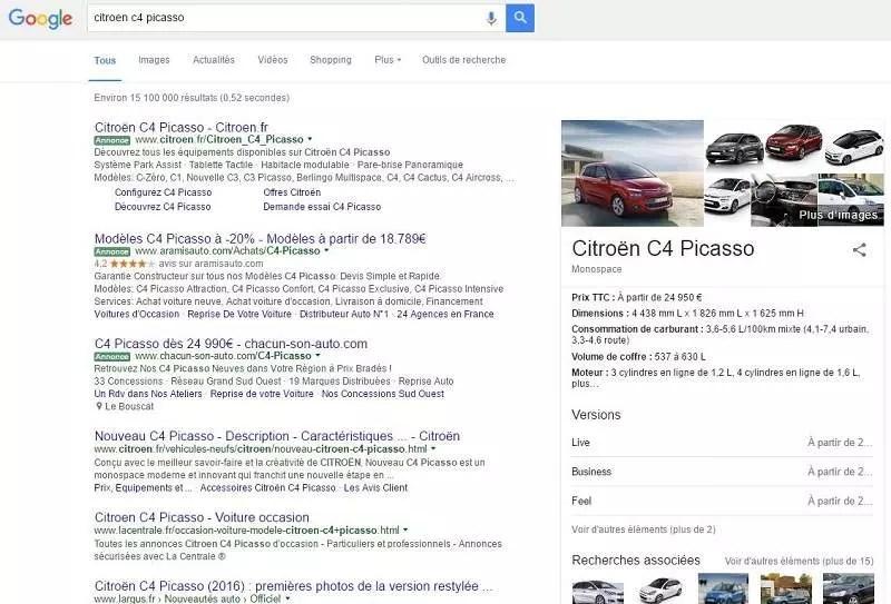 recherche de Citroën C4 Picasso montrant des résultats organiques et payants