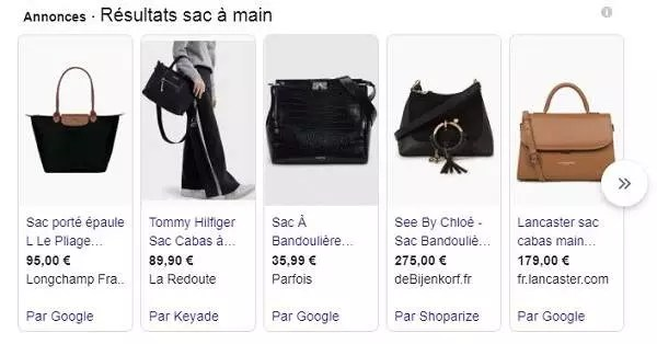 Exemple annonce Google Shopping