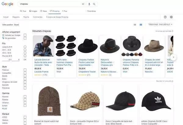 Resultats de la recherche de chapeau dans google shopping
