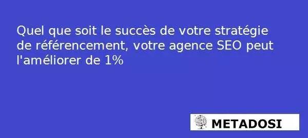 Quel que soit le succès de votre stratégie de référencement, votre agence de référencement peut l'améliorer de 1%