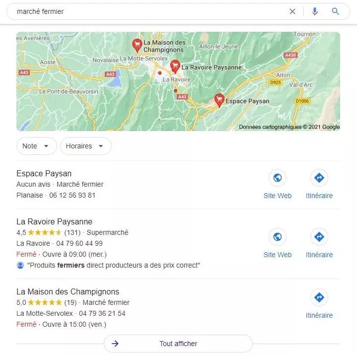 Pack local 3 Google recherche de marché fermier