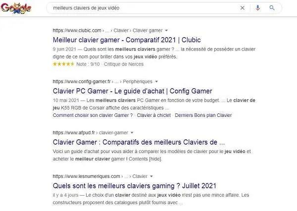 Intention de recherche pour les meilleurs claviers de jeux vidéo