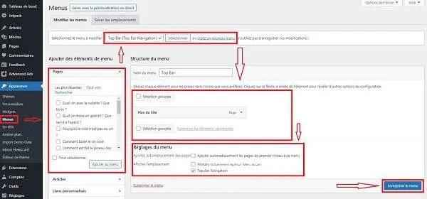 WordPress configure un menu