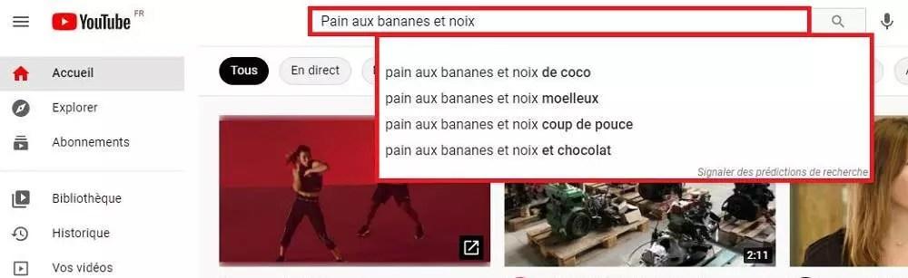Un exemple de la fonction de suggestion de recherche sur YouTube