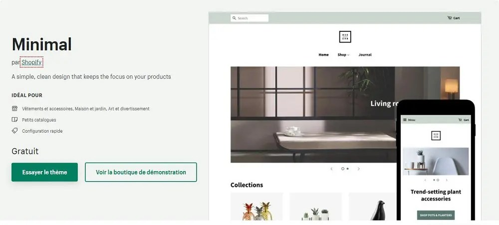 Page du thème Shopify nommé Minimal