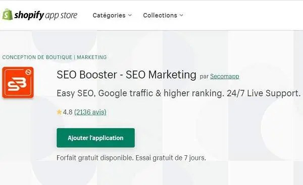 Application Shopify SEO Booster