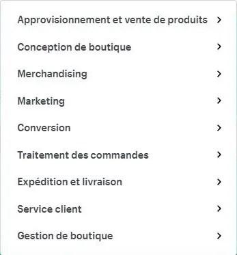 Liste des catégories d'applications à ajouter à une boutique Shopify