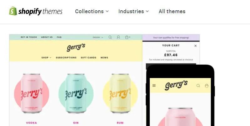 Thème shopify coloré présenté sur leur site Web
