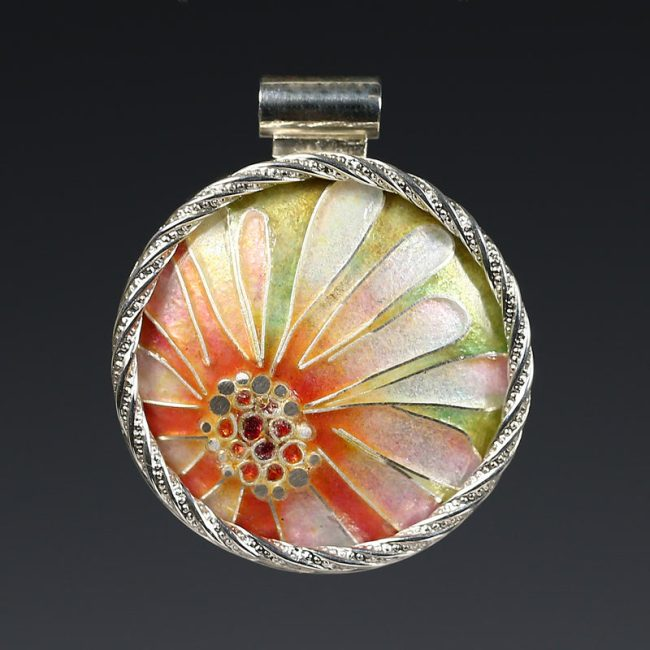 2. Pink Flower Cloisonné Enamel Pendant - 2016 - vitreous enamel, fine silver, sterling silver, gold foil