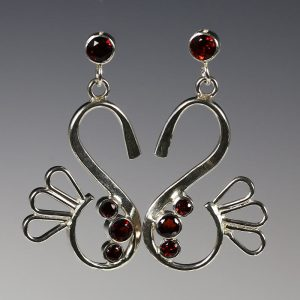5. Garnet Sterling Silver Mirth Earrings - 2017 - sterling silver, fine silver, garnets