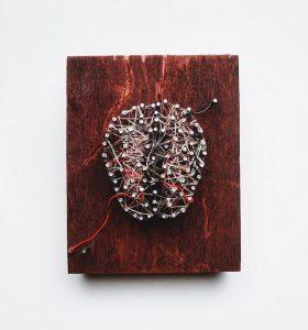4. Post Traumatic Stress Disorder: brain - 2016 - wood, steel, copper, thread, electric wire