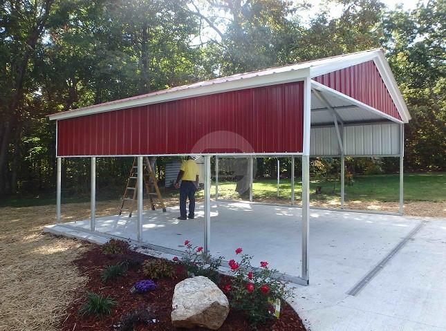 18x21 Vertical Carport Metal Barn Central