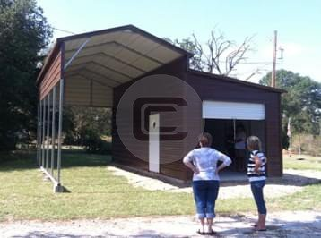 12x26 RV Cover With Lean To Metal Barn Central