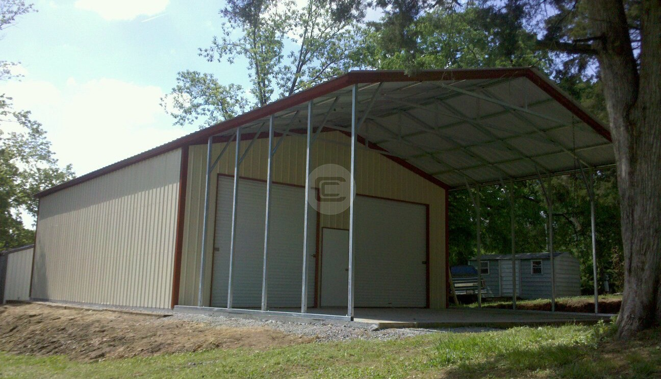30x51 WorkshopGarage With Roof Extension Metal Barn Central