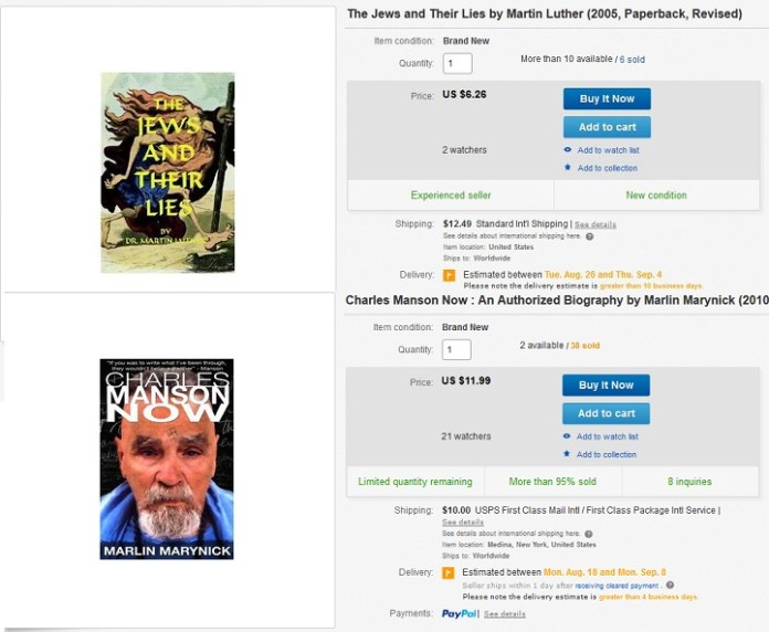 Still Available from Ebay: Martin Luther's anti-semitic propaganda and Charlie Manson's authorized biography.