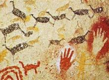 ancient cave paintings of women's work