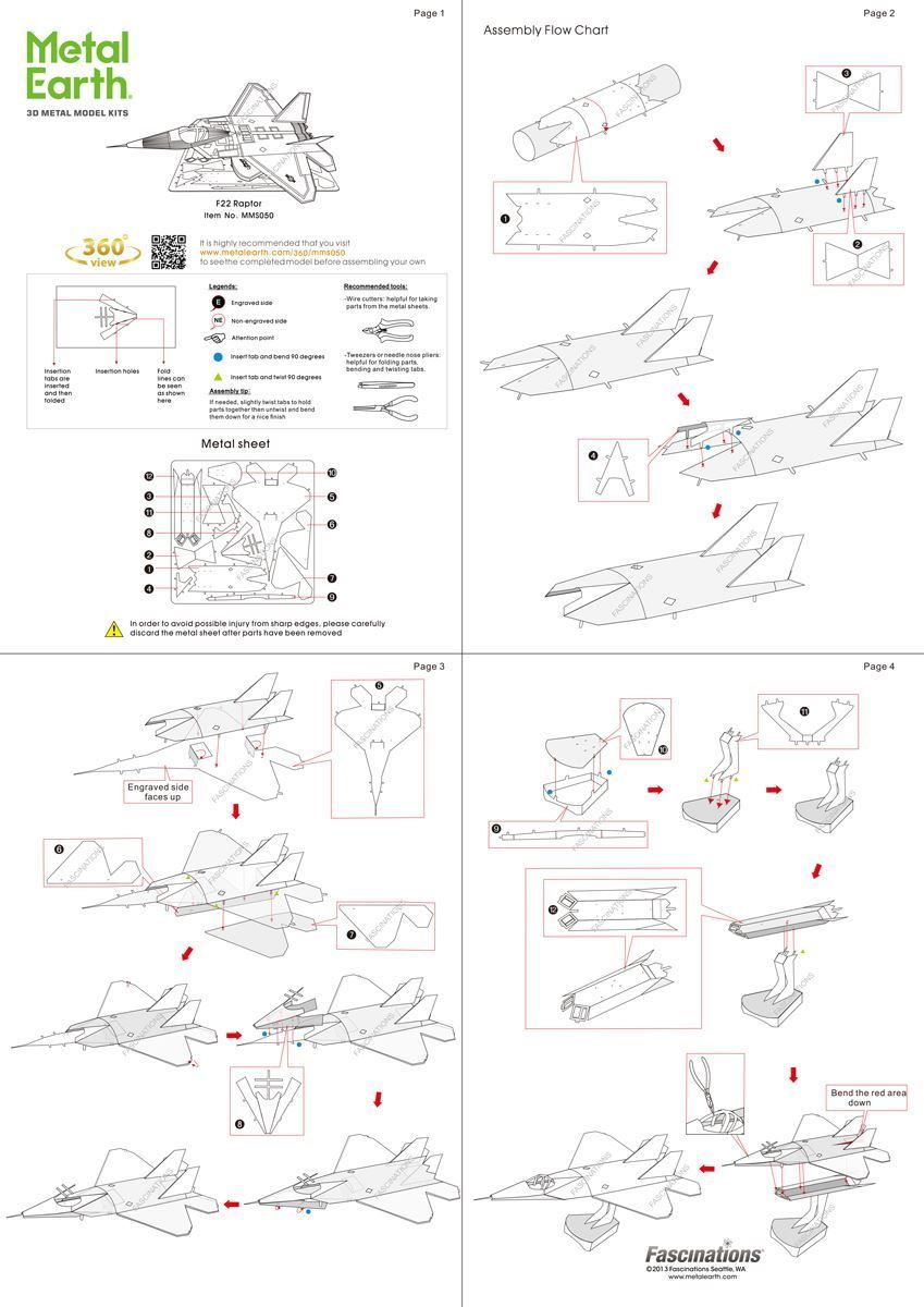 medium resolution of metal earth aviation f 22 raptor instructions view