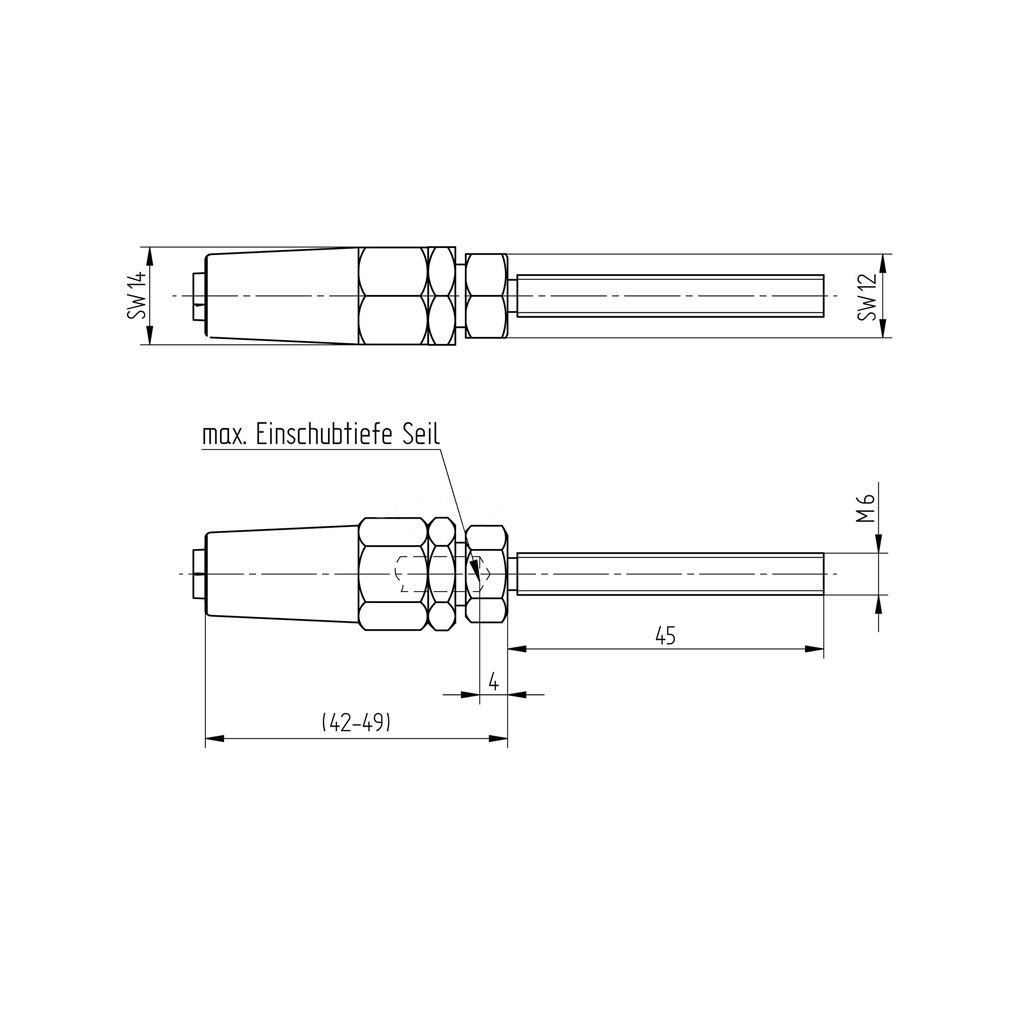 hight resolution of embout tige et mandrin en inox 316 pour c ble 4 mm 0