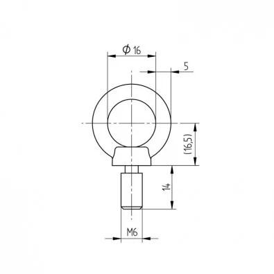 Anneau diamètre 16 mm à tige filetée M6 en inox 316