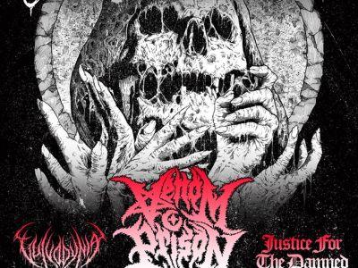 Affiche du concert de Fit for an autopsy, venom prison, vulvodynia, justice for the damned au gibus