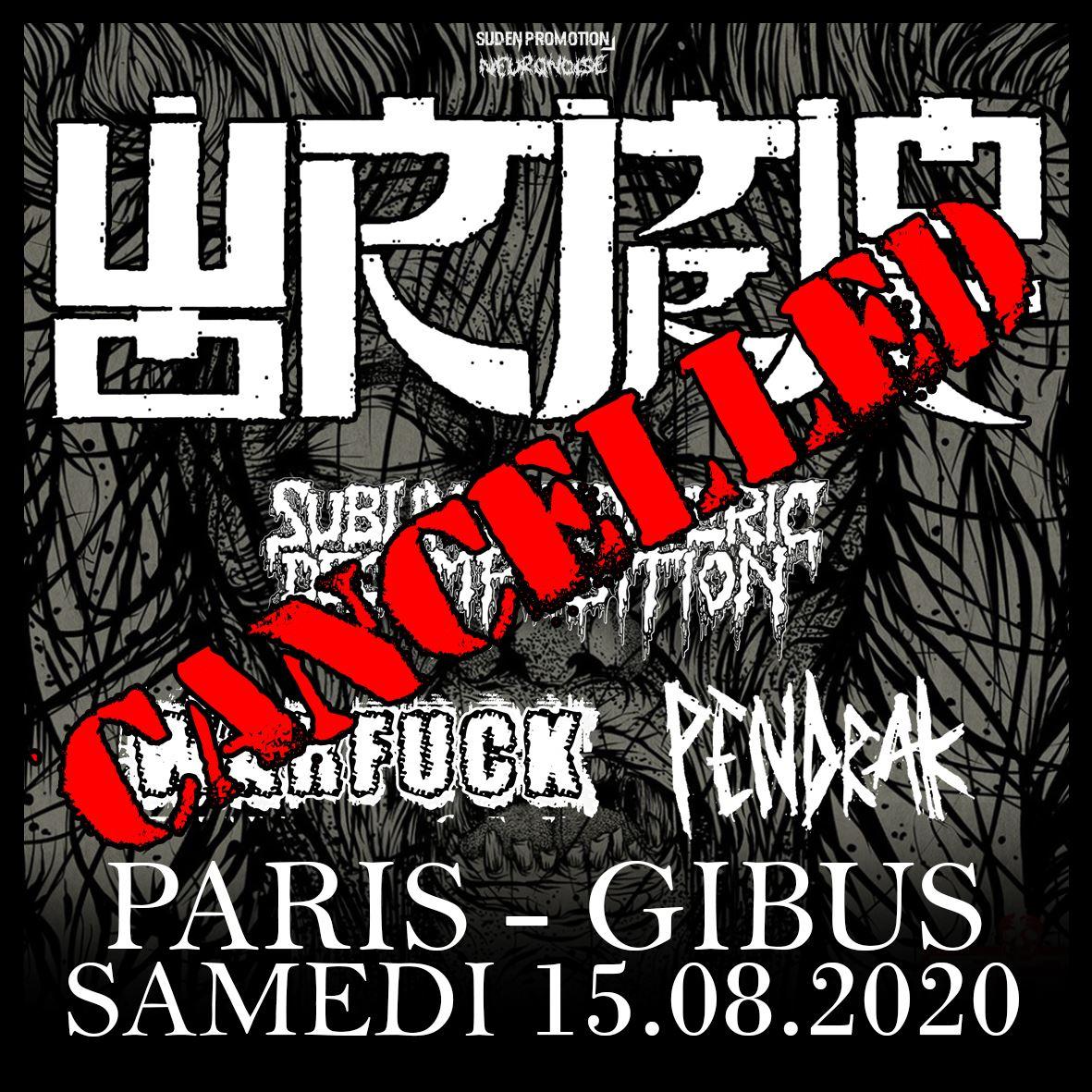 Concert de Wormrot, Sublime Cadaveric Decomposition, Pendrak au Gibus à Paris