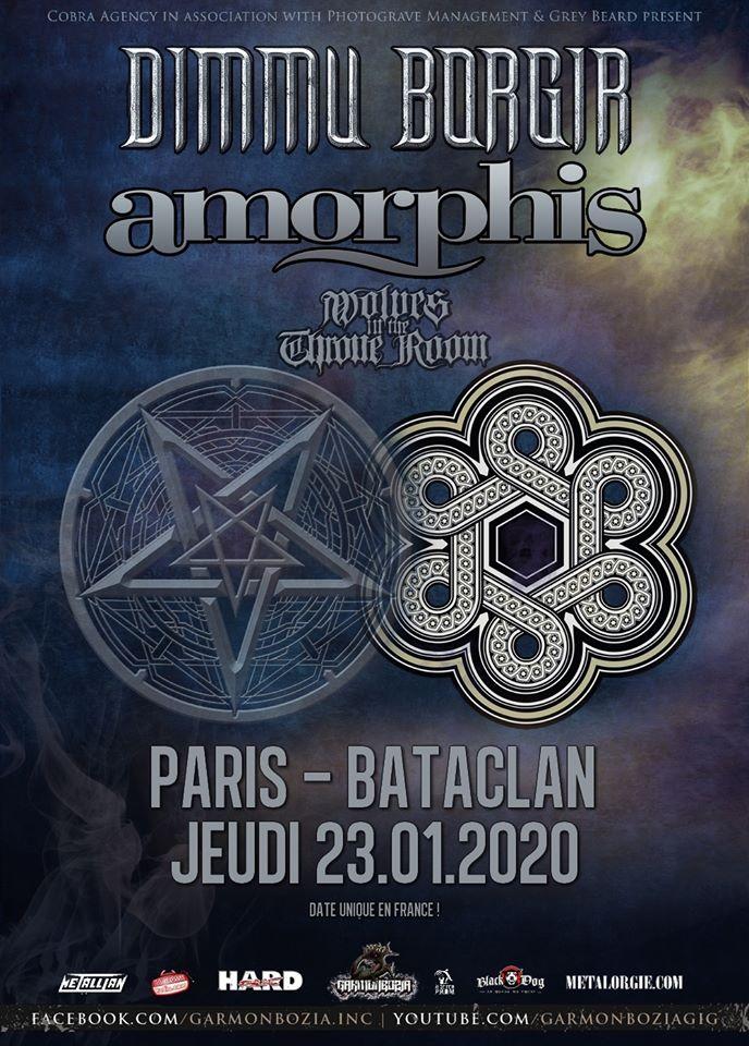 Concert de Dimmu Borgir, Amorphis, Wolves in The Throne Room au Bataclan à Paris