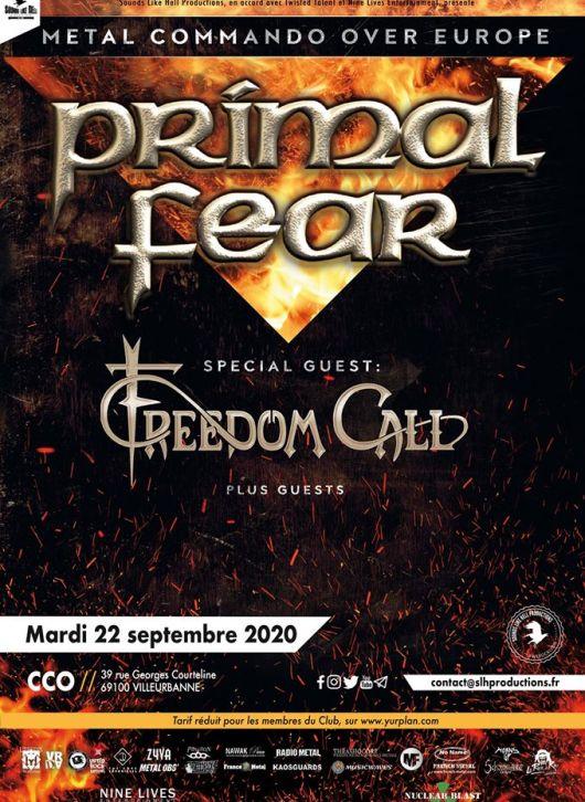 Affiche du concert de Primal Fear à Lyon