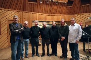 Pictured (L-R) at Avatar Studios in NYC are METAlliance co-founders Frank Filipetti, Elliot Scheiner, George Massenburg, Al Schmitt, Phil Ramone, Chuck Ainlay, and Ed Cherney. Photo by Guillaume Chadalliac.