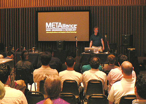 (Pictured at the podium in Studio A at Capitol Recording Studios is METAlliance co-founder George Massenburg