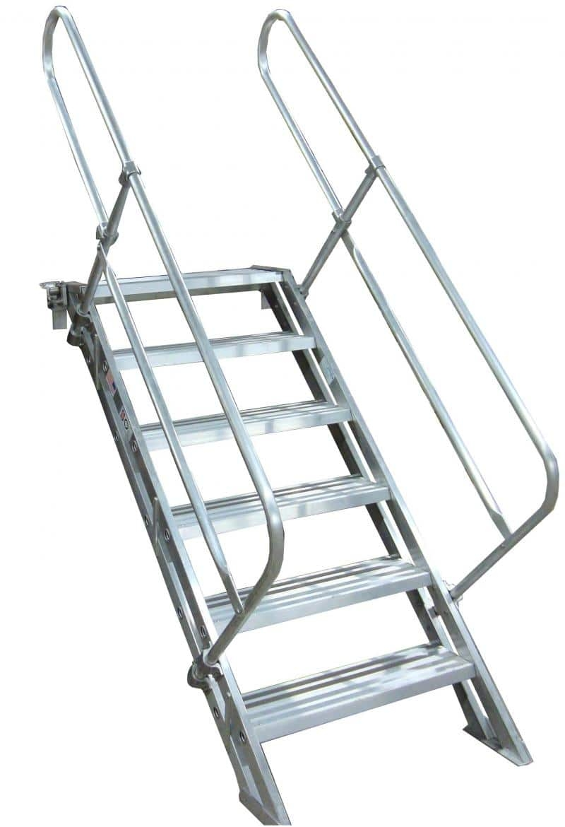Removable Aluminum Stairways Metallic Ladder | Portable Stairs With Railing
