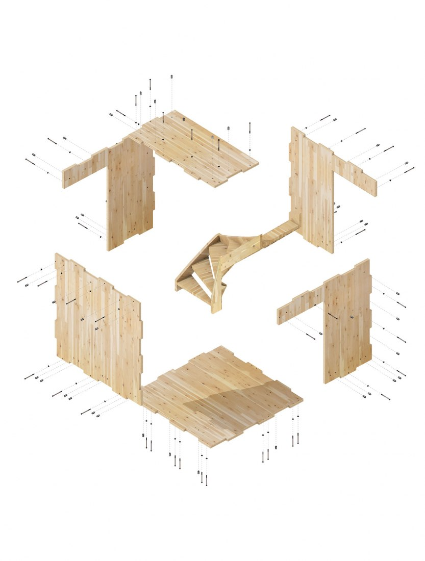 hight resolution of axonometry diagram of the tulipwood clt panels by waugh thistleton