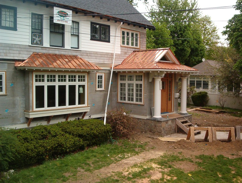 copper standing seam bay windows