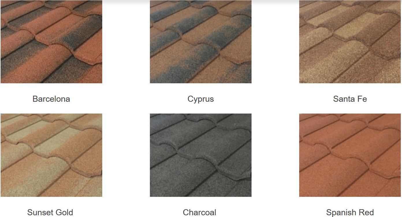 Stone coated steel roof cost gerard decra metro roof for Barrel tile roof colors