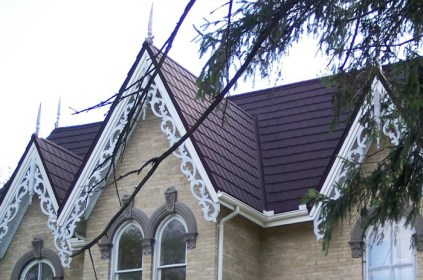 A closeup of metal slate roofing installed by Metal Roof Outlet