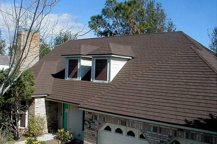 Dark brown metal shingle roofing installed by Metal Roof Outlet in Ontario
