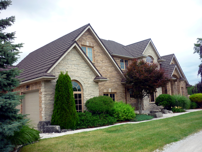 This roof has the look of natural wood shake roofing with the longevity and heartiness of a steel roof from Metal Roof Outlet, Ontario