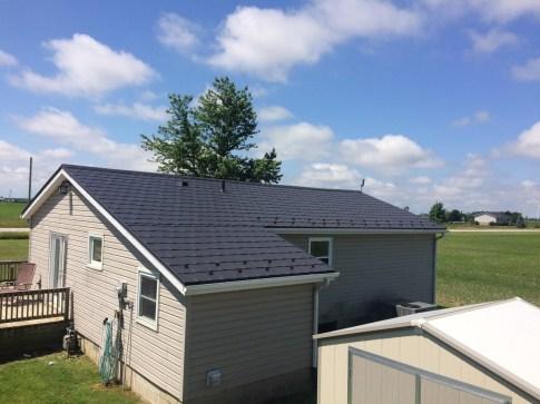 Boral Steel Grey metal shingle roof installed in Tilbury Ontario by Metal Roof Outlet