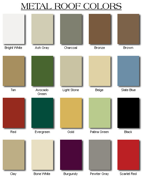Metal Roof Colors Consumer Guide Metalroofs Org
