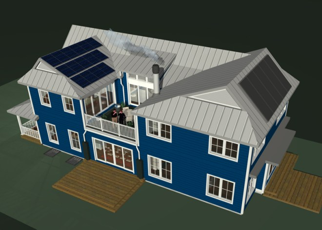 Standing Seam Metal Roof with PV Solar and Solar Thermal