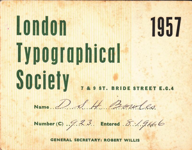 London Typographical Society 1957