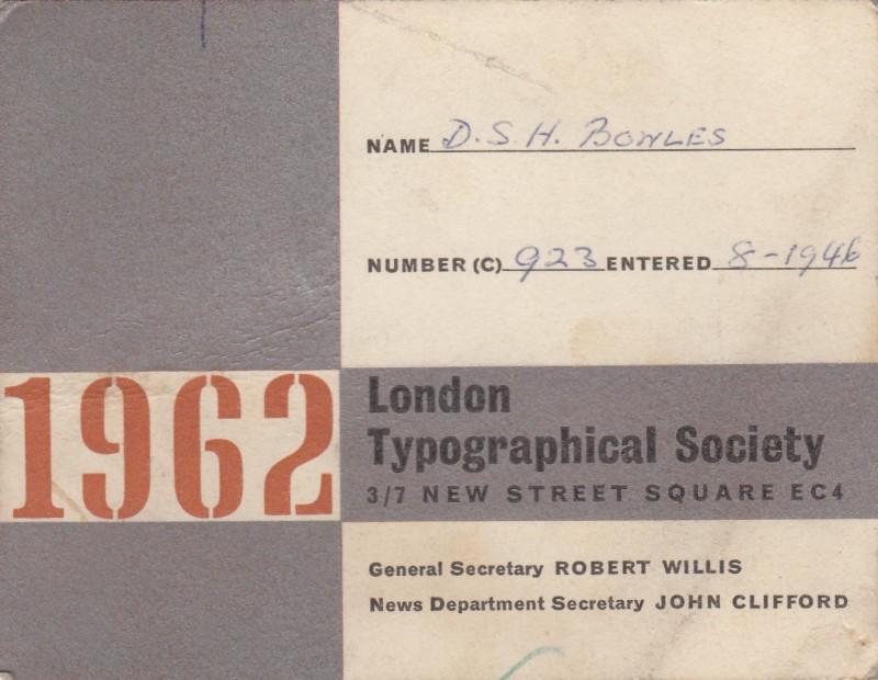 London Typographical Society 1962
