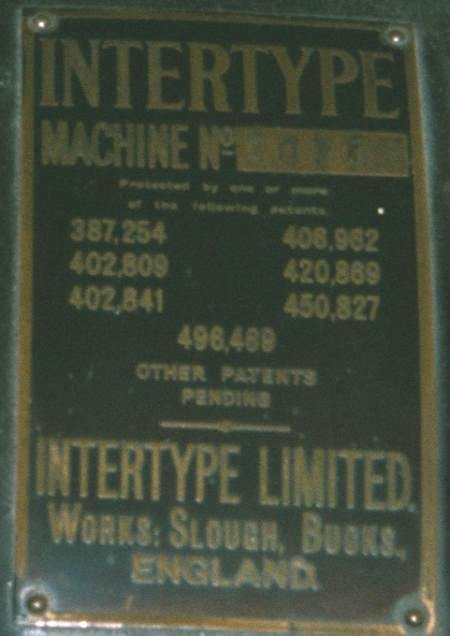 Intertype makers plate