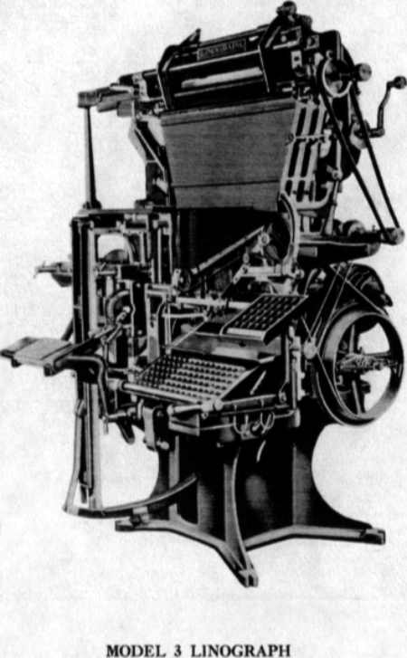 The Linograph - an early rival to the Linotype typesetting